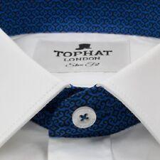 Mens Long Sleeve Business Work White Slim Fit Smart Formal Shirt - 100% Cotton