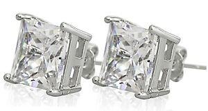 Ear Studs Earrings Square Diamond Crystals Swaroski Stud Men Women 12mm Large