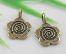 30pcs Plated bronze Spiral pattern Flower Charms Pendants 10.5x15.5mm(Lead-free)