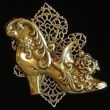 Vintage Style Shoe Filigree Brooch 24 Karat Gold Plate Victorian Wedding Boots