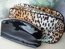 2pc Lancome Leopard Print & Black Patent Cosmetic Bags