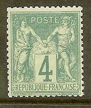 "FRANCE STAMP TIMBRE N° 63 "" TYPE SAGE 4c VERT "" NEUF xx TTB"