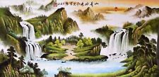 100% ORIENTAL ASIAN FINE ART CHINESE WATERCOLOR PAINTING-Waterfall&Landscape