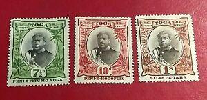 KAPPYSSTAMPS TONGA #47-49 1897 KING GEORGE II MINT HINGED GS0454