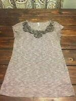 Women's Studio Y Top Blouse Grey/Gray/White Floral Design Size M Medium