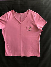 Croft & Barrow Pink Pajama Top Shirt With Dachshund On Pocket Size L