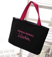 Sonia Rykiel large black canvas shopper shoulder tote reversible bag handbag