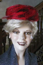 EVELYN VARON Unique Vintage Red Feathers Pillbox Hat Fancy Look 1950s 78aa0c90ea5e