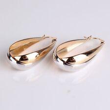 Elegant 18K Two Tone White Gold Filled Oval Hoop Earrings Women Jewellery Bridal