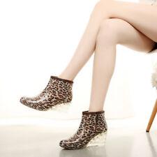 Women's Ladies Wedge Rain Boots Waterproof Mid High Heels Shoes  Comfy Fashion