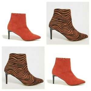 WOMENS OASIS ANKLE BOOTS HEEL POINTED TOE SIDE ZIPPED ANIMAL PRINT ORANGE  NEW