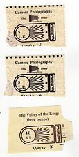 VINTAGE TICKET STUB Valley of the Kings THREE TOMBS Egypt TICKETS Theban Hills