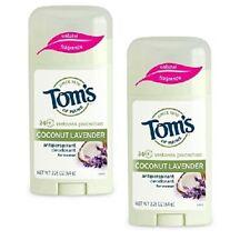 Tom's of Maine Women Natural Antiperspirant Stick Coconut Lavender LOT OF 2!