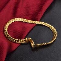 Bracciale Uomini piatto Snake Bone placcato oro 18k della catena del bordo