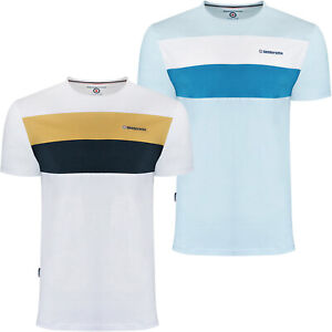 Lambretta Mens Panelled Casual Cotton Crew Neck Short Sleeve T-Shirt Top Tee
