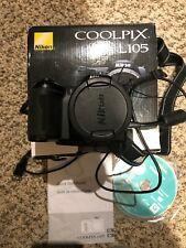 Nikon COOLPIX L105 12.1MP Digital Camera - Black w/box/ cable/instructions