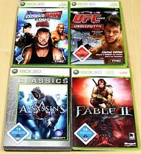 Xbox 360 juegos colección figuras assassins creed Fable II 2 Smack Down RAW UFC 2009 3