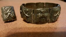 RARE COLLECTIBLE MEXICAN 30s/40s P. OCHOA STERLING RING &BRACELET SET