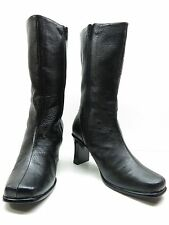 Newport News Black Leather High Heel Side Zipper Mid Calf Boots 6M 6