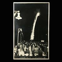 Vintage 2 RPPC Photo Postcards Jake Cox Carnival Circus Daredevil Human Torch