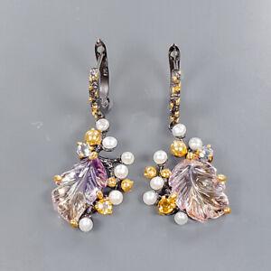 Fashion Art Earrings Ametrine Earrings Silver 925 Sterling   /E57531