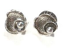 Bijou alliage argenté fleur détail perle tige + rabat earrings