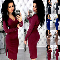 Women Long Sleeve V Neck Sweater Midi Jumper Dress Winter Bodycon Party Fit Top