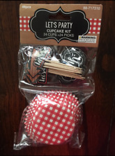 GINGHAM PICNIC WESTERN CUPCAKE TOPPERS WRAPPERS BIRTHDAY PARTY SUPPLIES SET 24