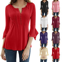 Pretty Women's Flare 3/4 Sleeve ShirtsSlim V Neck Buttons Blouse Tops Shirt Tee