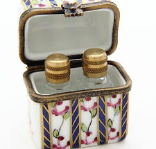 Limoges Porcelain Box with Two Clear Glass Perfume Bottles inside.