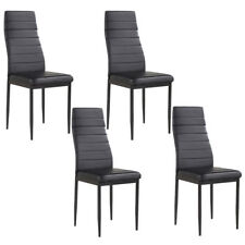 Set of 4 Black Stunning Dining Chairs Comfortable Leather Dining Room Furniture