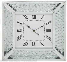 Beautiful Large Astoria Silver Floating Crystals Wall Clock