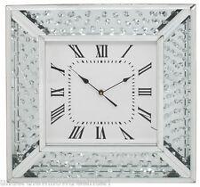 Reloj De Pared Cristales Flotante De Plata Hermoso Grande Astoria