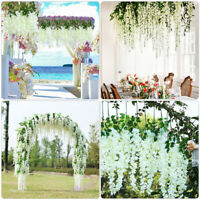 12Pcs Artificial Silk Flower Ivy Vine Hanging Garland Party Wedding Home Decor