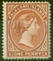 Falkland Islands 1891 1d Orange Rouge-Brun SG18 Frais Légèrement MTD Mint