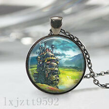 Howl's Moving Castle Inspired Necklace, Totoro Pendant, Anime Jewelry Black