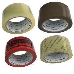6-144 Klebeband Transparent Braun Vorsicht-Glas Klar Packband 66m leise / laut