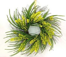 """Heather~Grass Natural Twig Wreath~Yellow, Green~24""""~PVC/Artificial"""