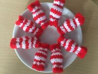 8 Christmas Sweets Red White Striped Sweets Hand Knitted Boiled Sweet Handmade