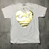 COMME DES GARCONS CDG Heart Tee in Gold Size S