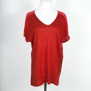 Eileen Fisher Organic Linen Two-Tone Red V-Neck Tee XS