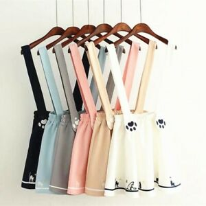 Japanese Kawaii Sweet Lolita Cat Print Suspender Dress Girls Mini Skirts
