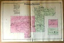 QUABBIN TOWN Original 1873 Antique Map PRESCOTT & PELHAM MA F W Beers & Co.