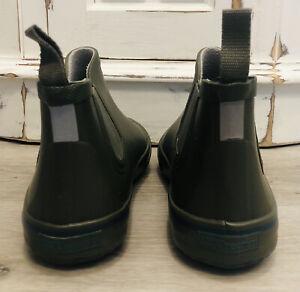 Hunt GR Bl Stripe Chelsea Tretorn Short Rain Rubber Ankle Boots Wellies Sz 40 W9