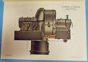 Antique affiche Scolaire de presse à système Rateau Turbine à vapeur vintage