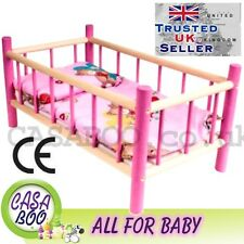 Large Wooden toy bed cot  for dolls with bedding  preschool girl's toy NEW