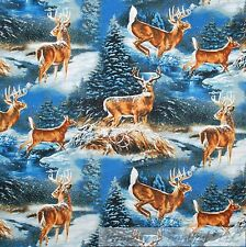 BonEful FABRIC FQ Cotton Quilt Blue Brown Deer Forest Xmas Tree Snowflake Scenic