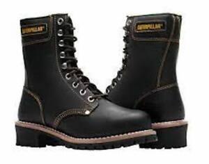 Caterpillar Mens Logger Steel Toe Waterproof Boots Size 7 Black