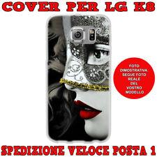 CUSTODIA COVER GOMMA IN TPU SILICONE PER LG K8 K350N FANTASIA DONNA MASCHERA
