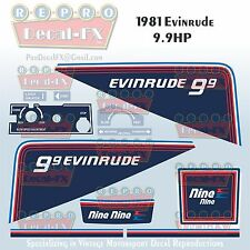 1981 Evinrude 9.9 HP Outboard Reproduction 9 Pc Marine Vinyl Decals Nine Nine